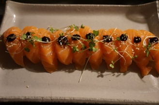 Scottish Salmon with black garlic miso