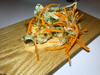 Jumbo lump Crab Cakes with spicy remoulade, fennel and carrot slaw